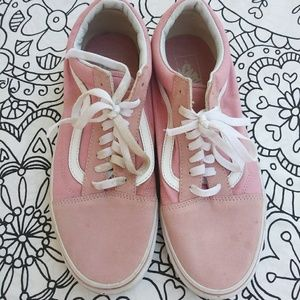 VANS light pink and white old school vans sz:w11